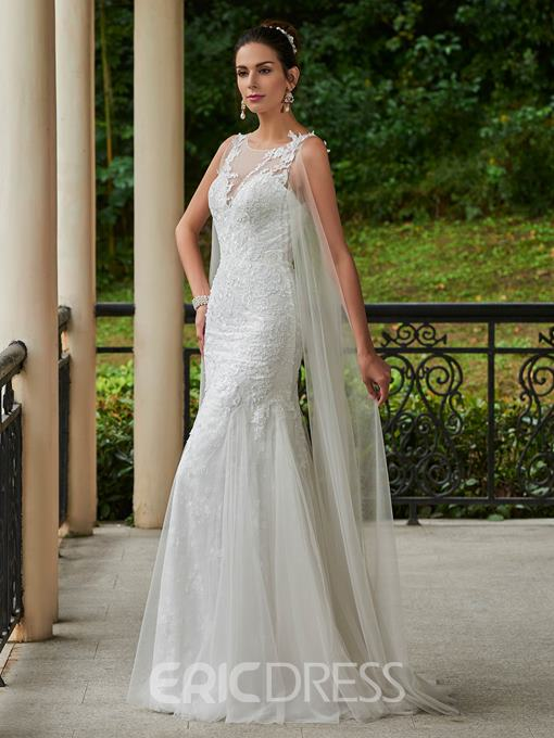 Ericdress Appliques Sheath Wedding Dress with Train