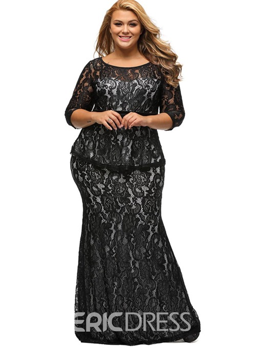 Ericdress Plus Size Round Collar Patchwork Lace Maxi Dress