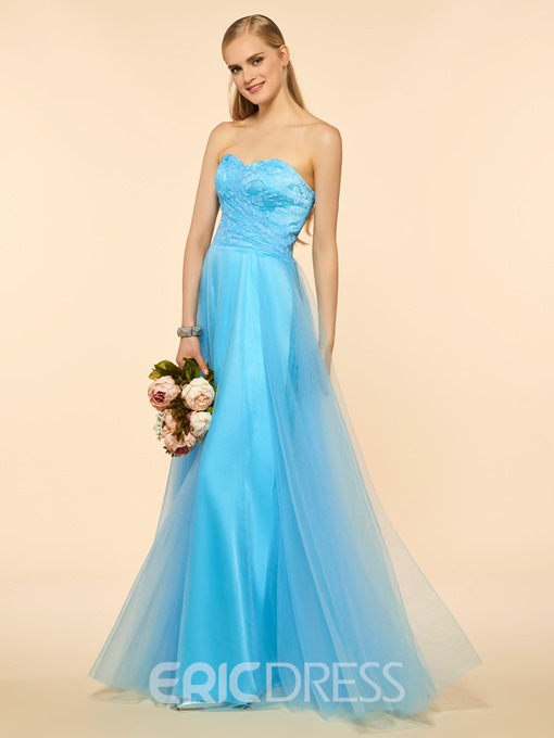 Ericdress Classic Sweetheart Lace A Line Long Bridesmaid Dress