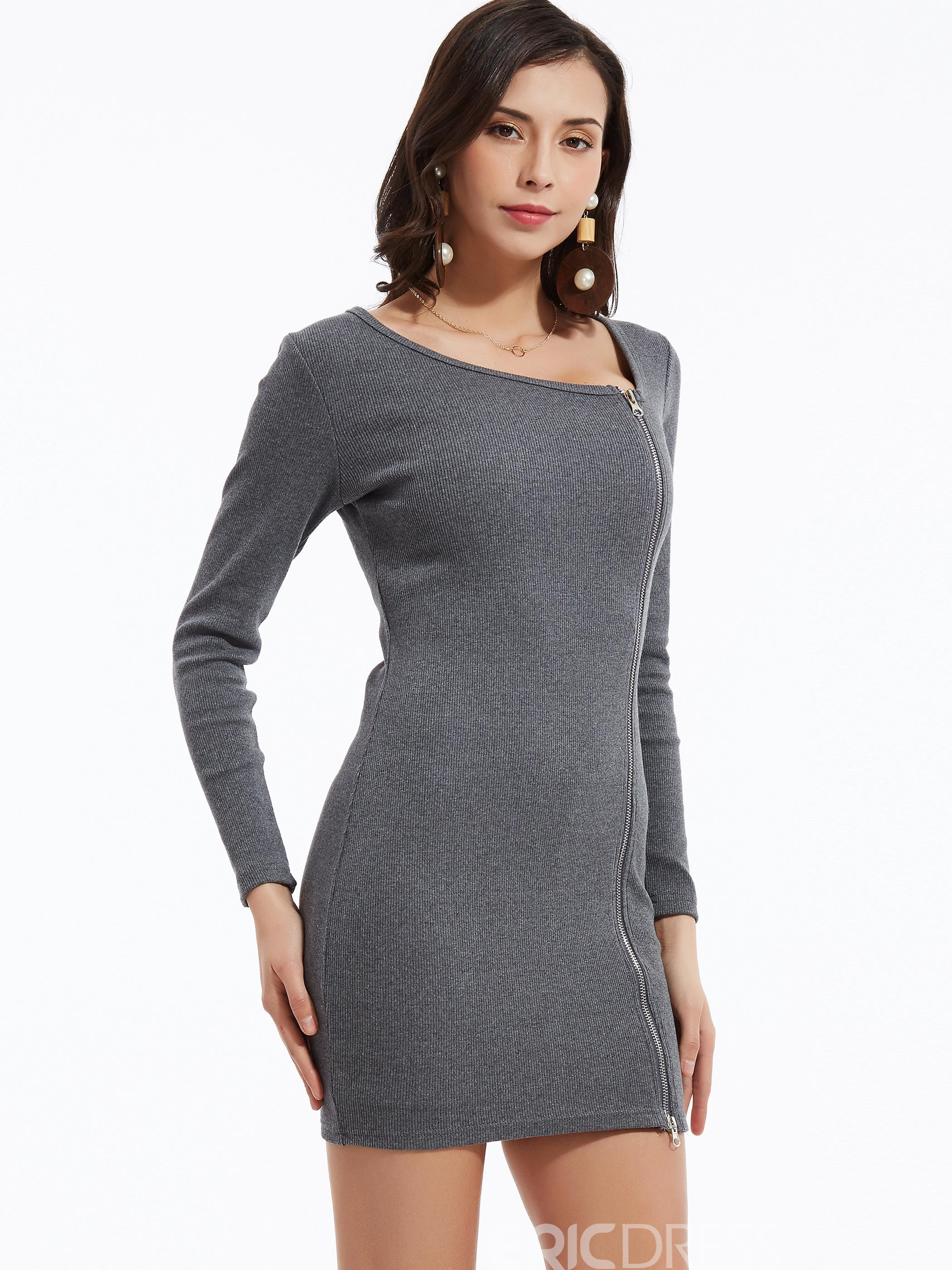 Plain Side Zipper Bodycon Dress