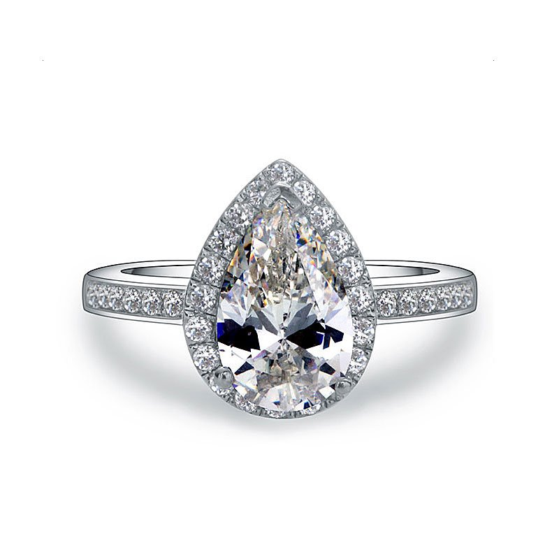 Ericdress Pear Cut 2 Carat Platinum Plated Wedding Ring