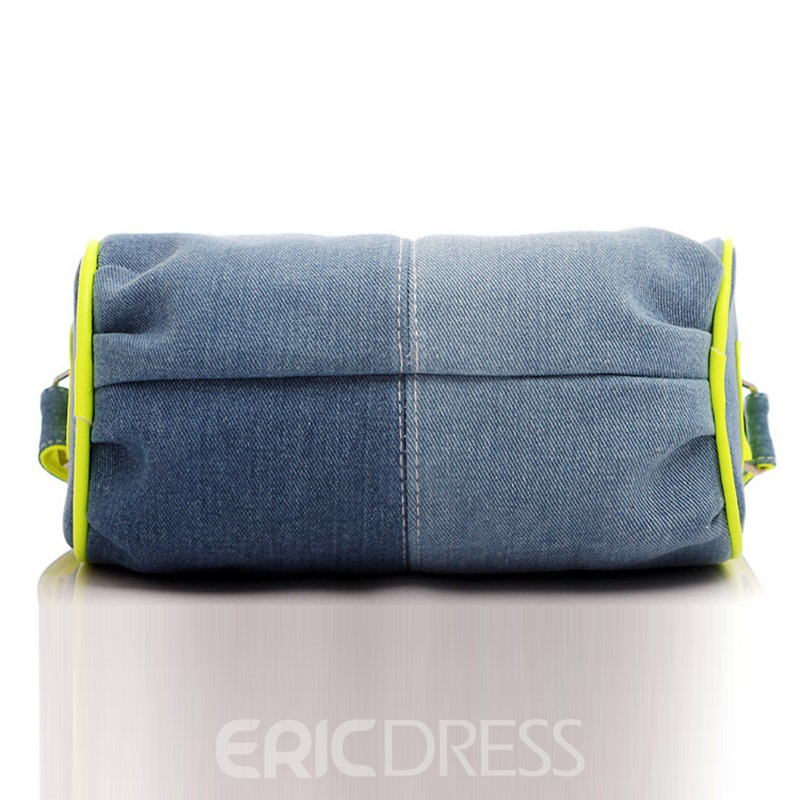 Ericdress Pleated Thread Cylinder Denim Shoulder Bag