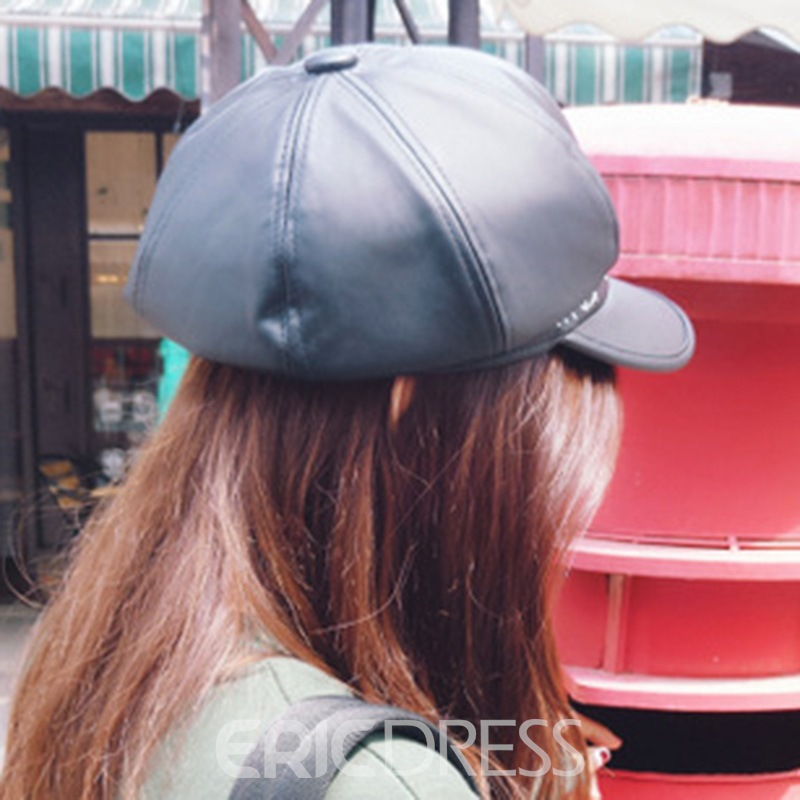 Ericdress Letters Embroidery Leather Newsboy Cap
