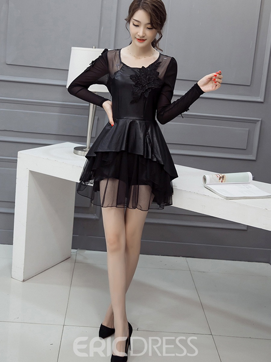 Ericdress Mesh See-Through Patchwork 3D Floral Pleated Casual Dress