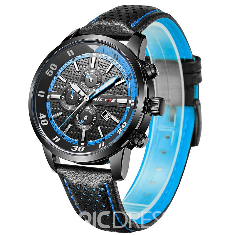 Ericdress Black Leather Band Pin Buckle Men's Watch