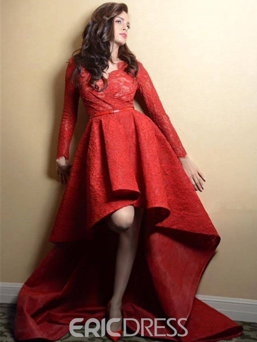 Ericdress A-Line V-Neck Long Sleeves Lace Evening Dress