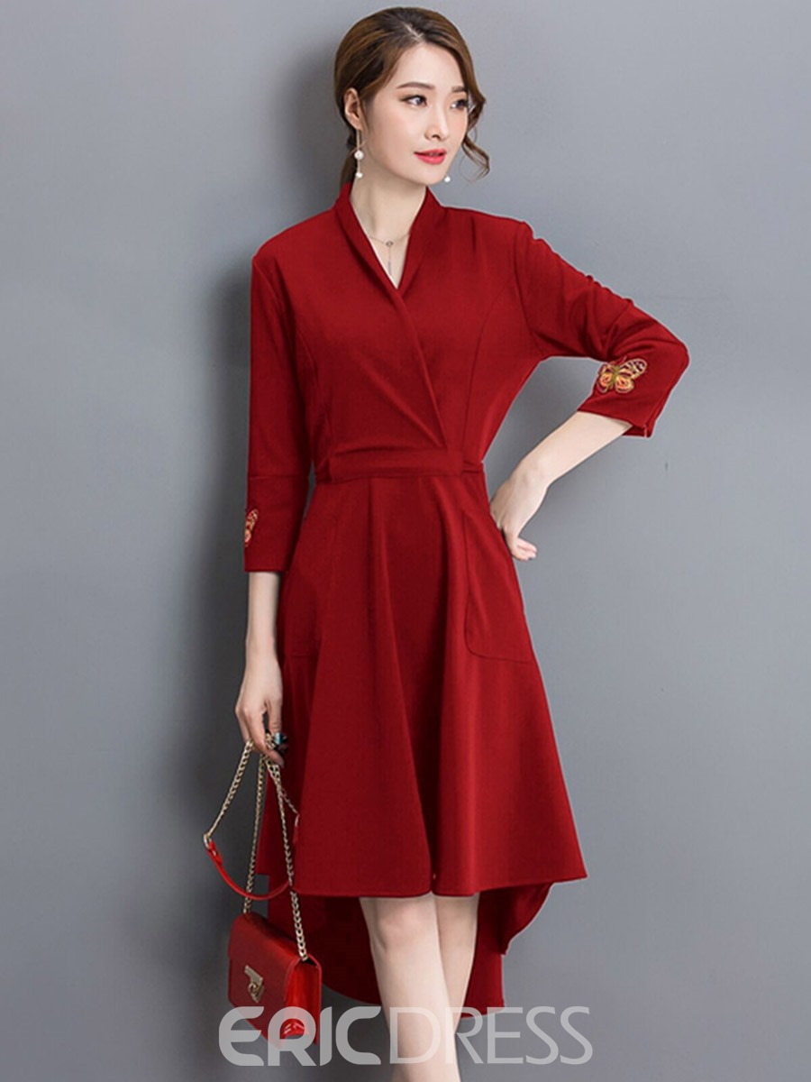 Ericdress Cross Appliques Pocket Pleated Asymmetric Casual Dress