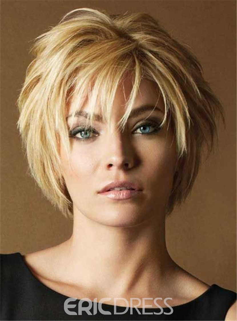 Ericdress Women's Short Layered Hairstyle Human Hair Lace Front Wigs 10 Inches