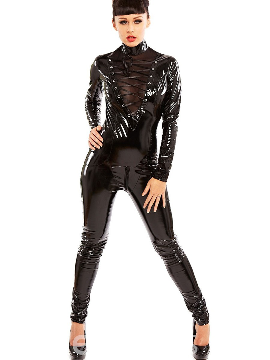 Ericdress Black See-Through Crisscross Lace-Up Costume