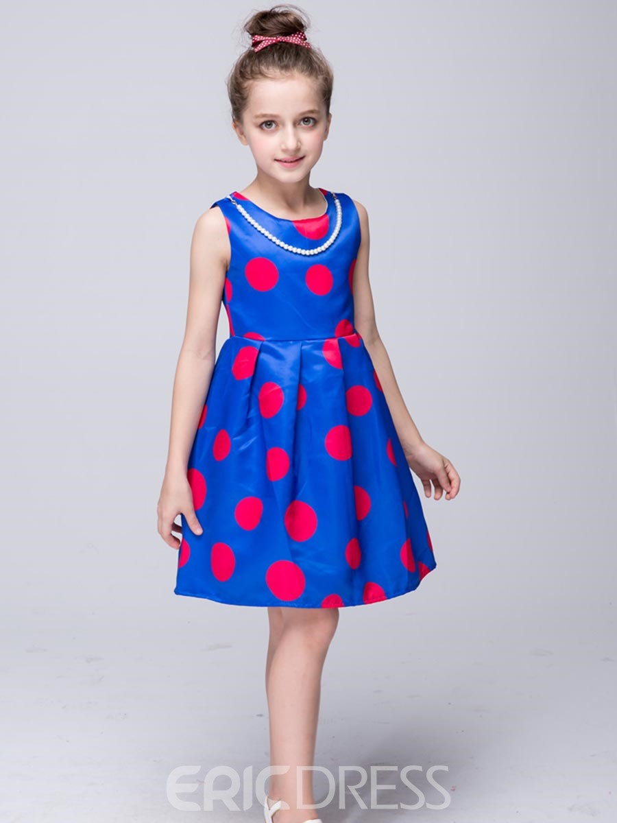 Ericdress Polka Dots Pleated With Pearl Necklace Girls Dress
