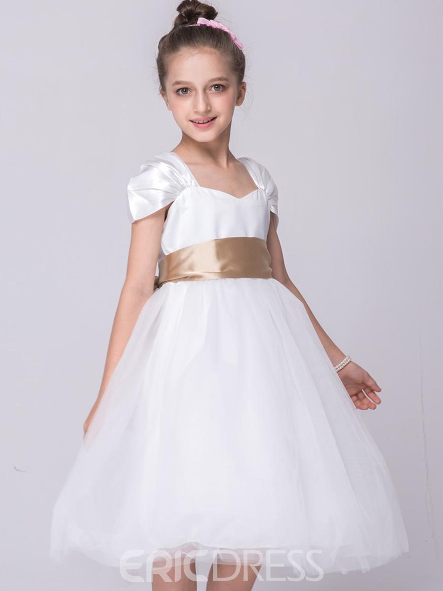 Ericdress Solid Color Square Neck Sleeveless Girls Princesss Dress