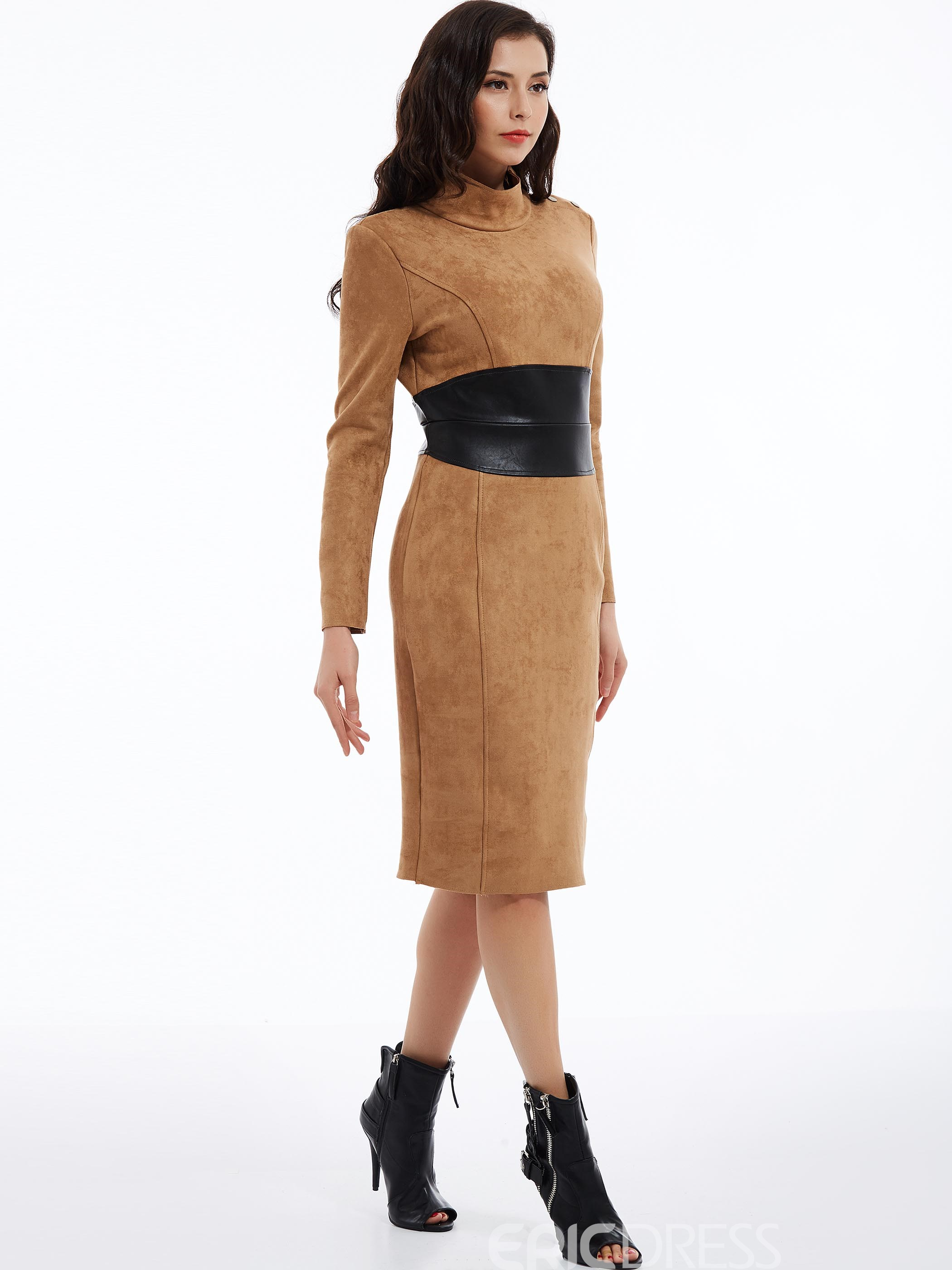 Ericdress Plain Mid-Waist Turtleneck Patchwork Sheath Dress