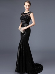 Image of Ericdress Cap Sleeves Beaded Lace Sequins Mermaid Evening Dress With Court Train