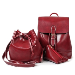 Ericdress Vintage Draw String Waxy Leather Handbags(3 Bags) 12706713