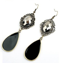 Ericdress Palace Style Black Water Droplets Earrings