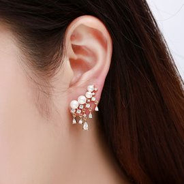 Ericdress All-Match S925 Silver Tassel Pearl Earring