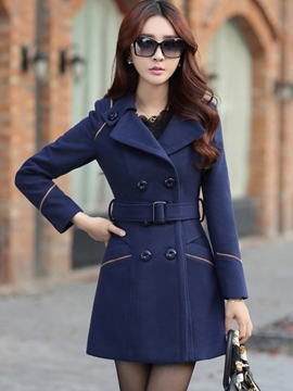 Ericdress Slim Mid-Length Belt Trench Coat