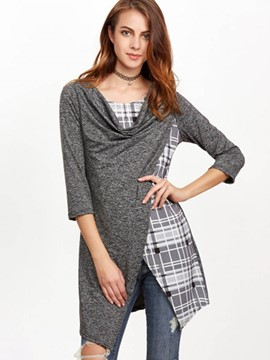 Ericdress Oblique Trim Patchwork Three-Quarter T-Shirt