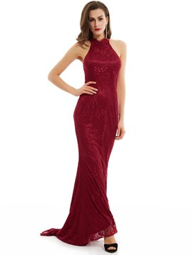 Ericdress Halter Neck Zipper-Up Floor-Length Lace Evening Dress