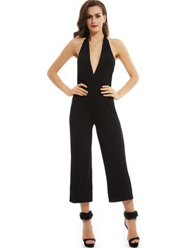 Ericdress Plain Slim Backless Wide Legs Jumpsuits Pants