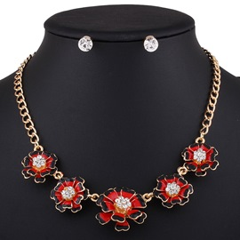 Ericdress Color Block Flowers Two Pieces Jewelry Set