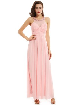 Ericdress Scoop Neck Beaded Pleats A Line Prom Dress