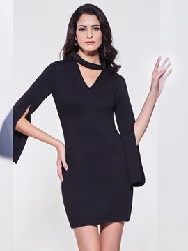 Ericdress V-Neck Bell Sleeve Bodycon Dress