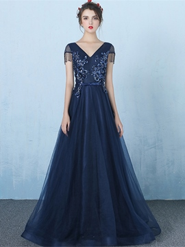 Ericdress A-Line Cap Sleeves Appliques Sequins Tassel Evening Dress
