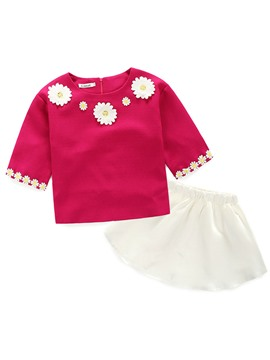 Ericdress Daisy Appliques Tops White Skirt Girls Outfit