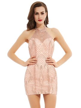 Ericdress Halter cou paillettes dos nu courte robe de Cocktail