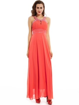 Ericdress Straps Beaded Pleats A Line Evening Dress