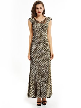 Ericdress V Neck Zipper-Up Sequins Mermaid Evening Dress