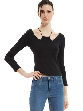 Plain Slim Double-Layer Backless T-shirt