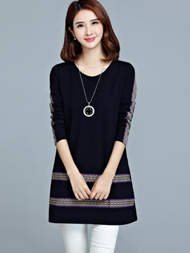 Ericdress Simple Bohemian Appliques Round Collar Trumpet Casual Dress