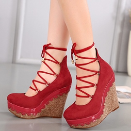 Ericdress Unique Round Toe Platform Cross Strap Wedges