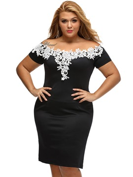 Ericdress Slash Neck Lace Plus Size Bodycon Dress