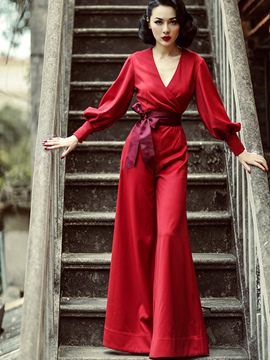 Ericdress V-Neck Long Sleeve Red Lace-Up Women's Jumpsuits