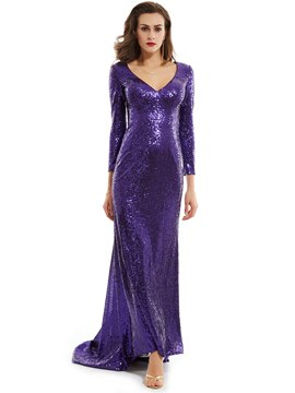 Ericdress V Neck Long Sleeves Sequins Mermaid Evening Dress