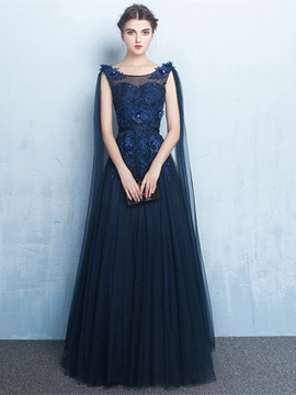 Ericdress A-Line Scoop Appliques Beading Flowers Floor-Length Evening Dress