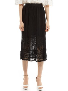 Ericdress Plain See-Through Pleated Skirt