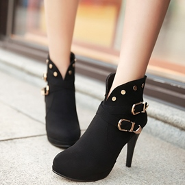 Ericdress Suede Rivets High Heel Boots