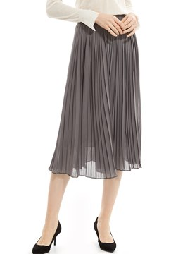 Ericdress Plain Mid-Calf Pleated Skirt