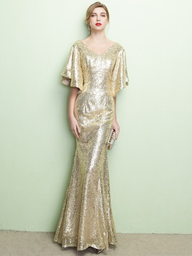Ericdress Sequins Mermaid Long Evening Dress With Short Sleeves