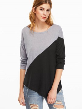 Ericdress Color Block Asymmetric Fashion T-Shirt