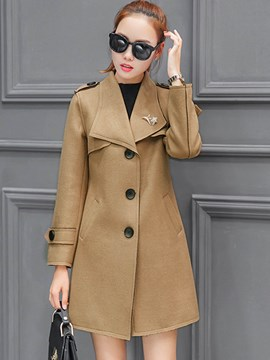 Ericdress Single-Breasted Solid Color Slim Coat