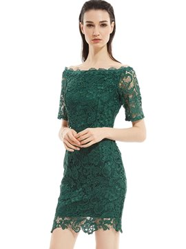 Ericdress Back Belt- tied Slash Neck Hollow Patchwork Lace Dress
