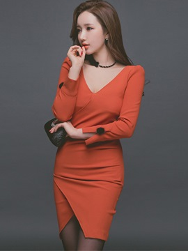 Ericdress V-Neck Patchwork Asymmetrical Split Sleeve Bodycon Dress