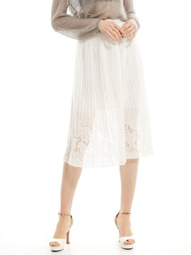 Ericdress Plain Floral See-Through Pleated Skirt