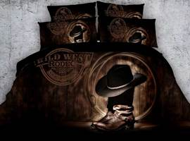 Cowboy Hat On Boots Printed Cotton 3D 4-Piece Bedding Sets/Duvet Covers