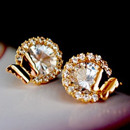 Ericdress Round Full Rhinestone Stud Earrings